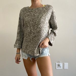 NIC + ZOE Cream Knit Sweater 3/4 Length Sleeves